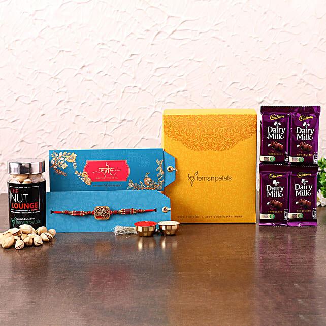Beautiful Krishna Rakhi With Chocolates and Cashews