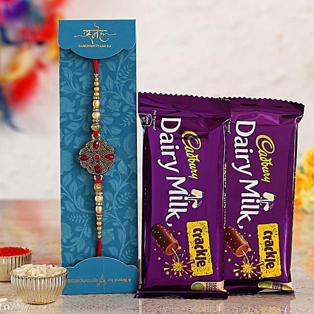 Beautiful Kundan Rakhi & Chocolates