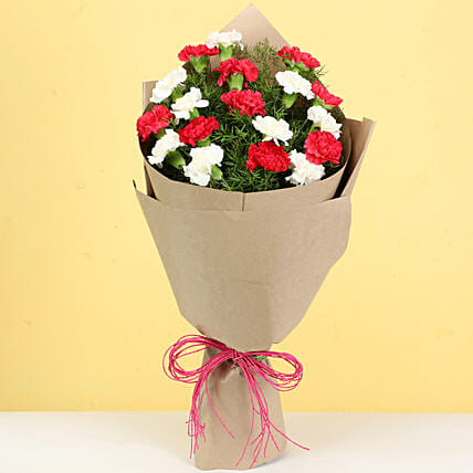 carnations bouquet in paper wrap for girlfriend