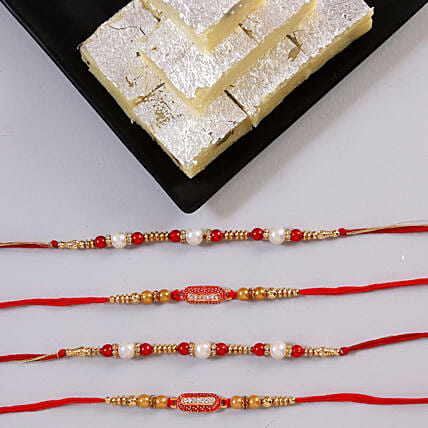 Online Khoya Burfi And Rakhi:Rakhi With Sweets