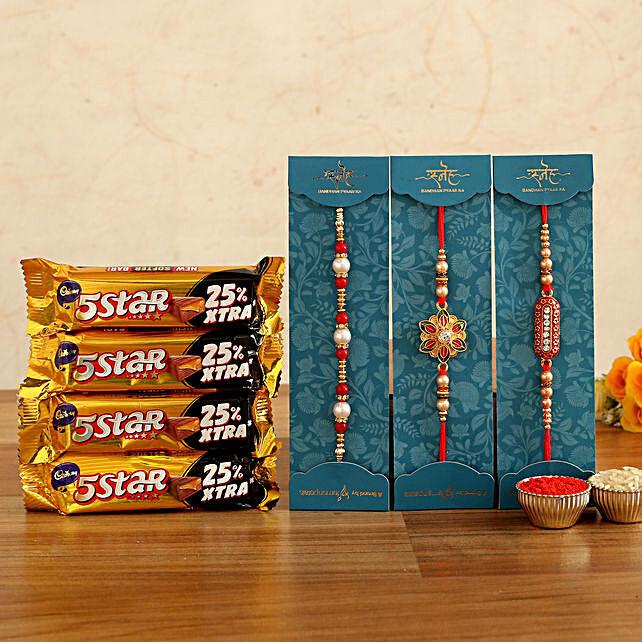 family rakhi n five star chocolates:Rakhi Set of 3