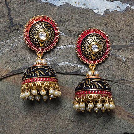 Green Gold Plated Dome Shape Jhumkas