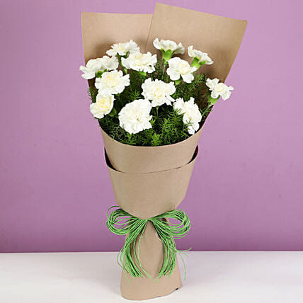 elegant white carnations bouquet online