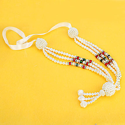 Beauty in White-13 inches Pearl Mala:Janmashtami Gifts