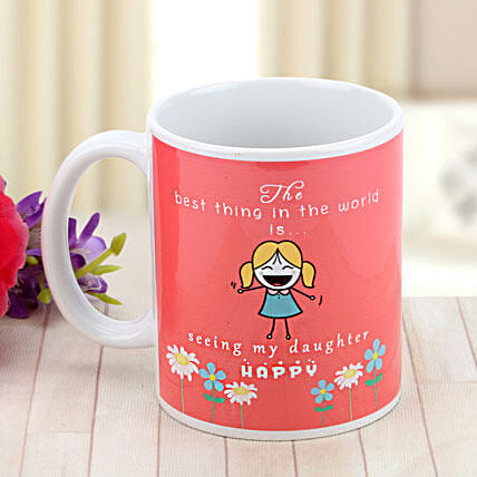Beloved Daughter-Pink and White Mug with Print