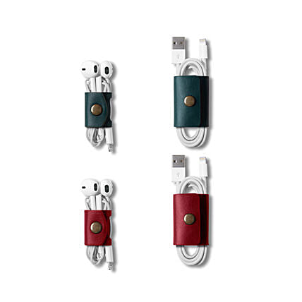 Belt Cable Wrap Red & Green - Set of 4