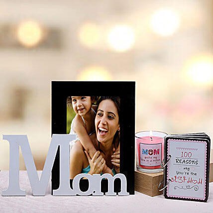 Best Mom Gift Hamper-1 personalized photo frame for mom,1 candle for mom and 100 reasons why you are the best mom booklet:Send Candles
