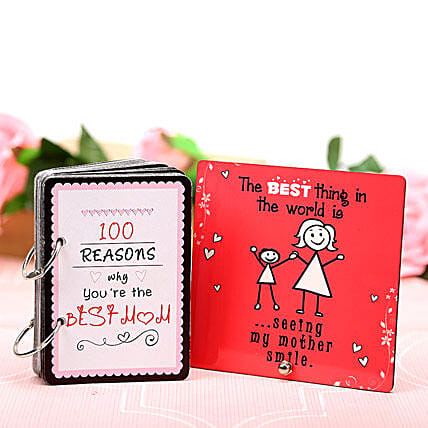 Best Mom With Best Smile-1 plaque for mom and 100 reasons why you are the best mom booklet