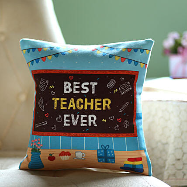 Best teacher ever printed cushion online