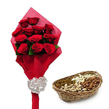 Best wishes for you - One sided Bunch of 12 Red Roses in red color paper packing and 250gm mixed dryfruits in a cane basket.:Gifts for Basant Panchami