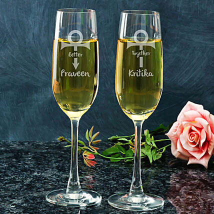 Better Together Written Champagne Glasses:Bar Accessories
