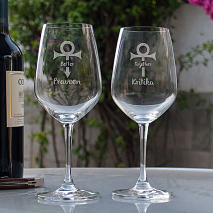 Customised Wine Glasses Online For Couple