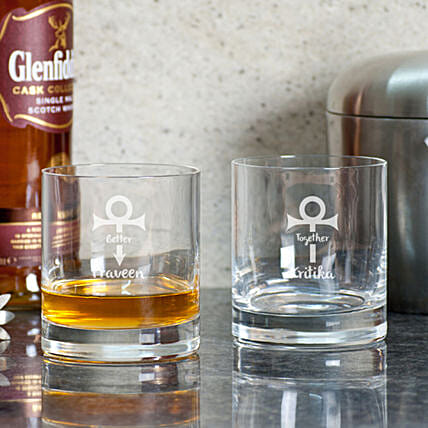 Better Together Printed Whiskey Glasses
