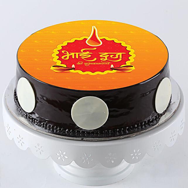 Simple Bhai Dooj Wishes Photo Cake:Bhai Dooj Cakes