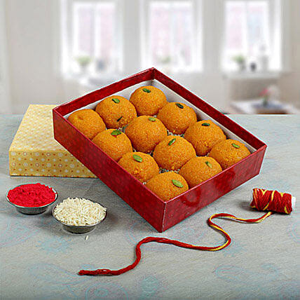Box of moti choor laddoo:Bhai Dooj Gift For Brother