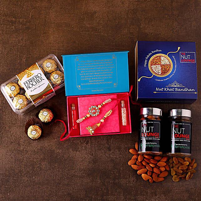 Bhaiya Bhabhi Rakhi Set With Chocolates N Dry Fruits:Raksha Bandhan Gift Hampers