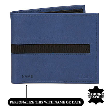 Buy Online Black and Blue Bi Fold Wallet:Customised Handbags and Wallets
