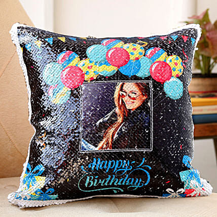 personalised sequin cushion for birthday