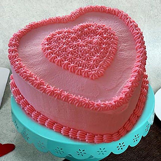 Birthday Cake 2kg Vanilla Eggless Gift Red Heart Shape Cake With