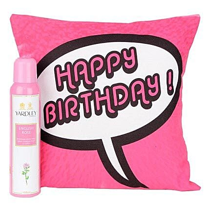 Birthday Gift For Her-12X12 inches pink Cushion with message,Happy Birthday,Yardley English Rose Body Spray of 150 ml