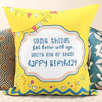 Yellow And Mellow Celebrations Non Personalized Cushion 12x12 Inches White Color Birthday