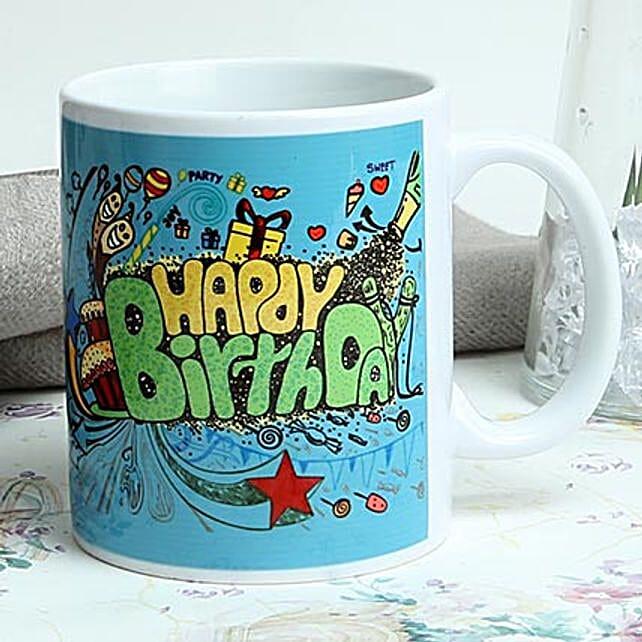 Happy birthday printed ceramic white mug