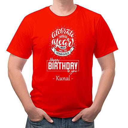 Birthday Personalised Red Cotton T shirt:Send Personalised Tee Shirts