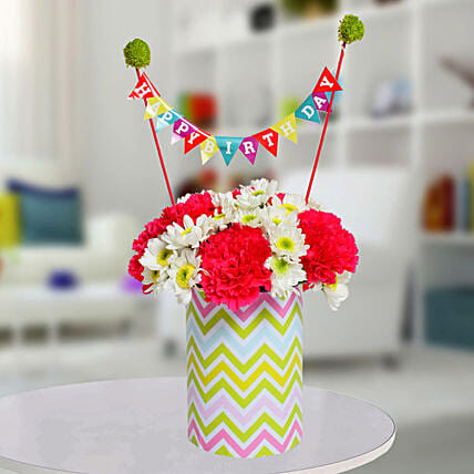 Special Birthday Vase Arrangement:Chrysanthemum Flower