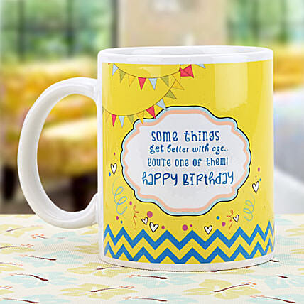 Birthday Wishes-white and yellow Color Non Personalized Mug:Send Gifts for 75Th Birthday