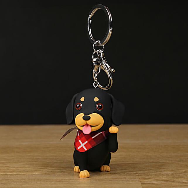 black daschund dog shaped keychain