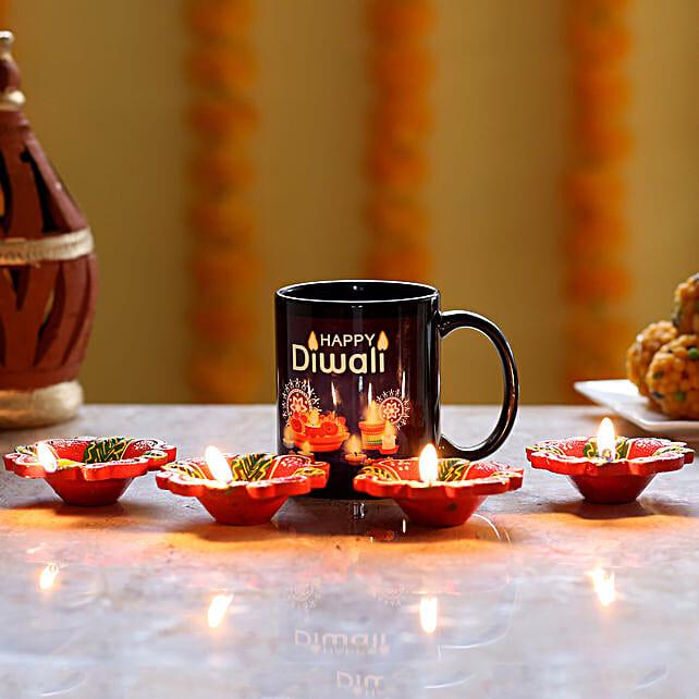 diwali printed mug with diya for father online