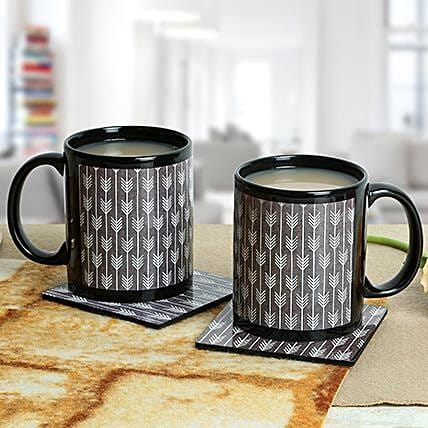Pair of tea coaster and ceramic printed black mug