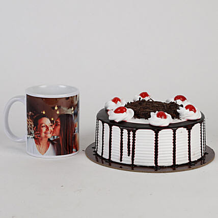 Black Forest Cake and Mug Combo For Mothers' Day:Cakes N Personalised Gifts