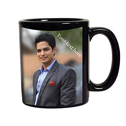 Personalised Photo Mug-black ceramic coffee mug