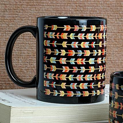 Printed ceramic black mug