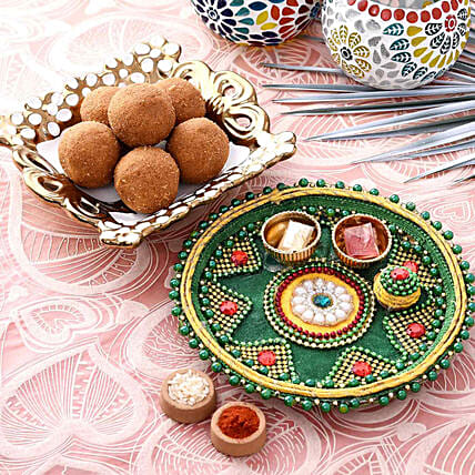 Blissful Green Pooja Thali With Besan Laddu Combo