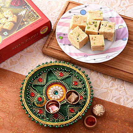 Blissful Green Pooja Thali With Soan Papdi Combo