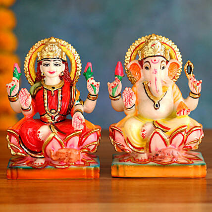 Blissful Lakshmi Ganesha Idols:Laxmi Ganesh Idol