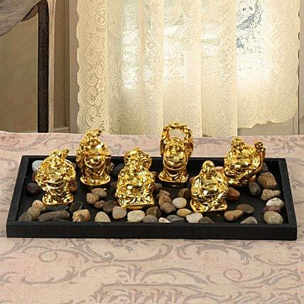 Resin Buddha set in a tray:Feng Shui Gifts