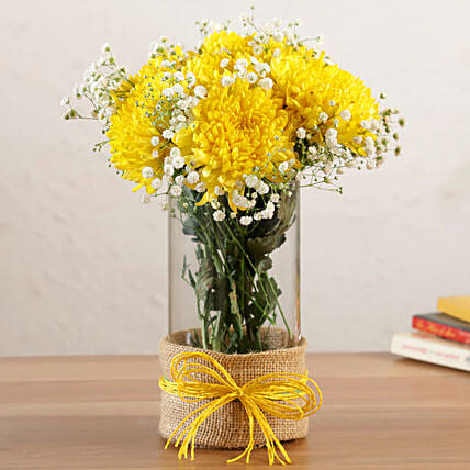 Blissful Yellow Chrysanthemums Vase
