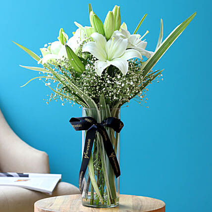 Blooming Asiatic Lilies In Black Ribbon Tied Vase