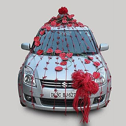 Red fresh flower car decoration