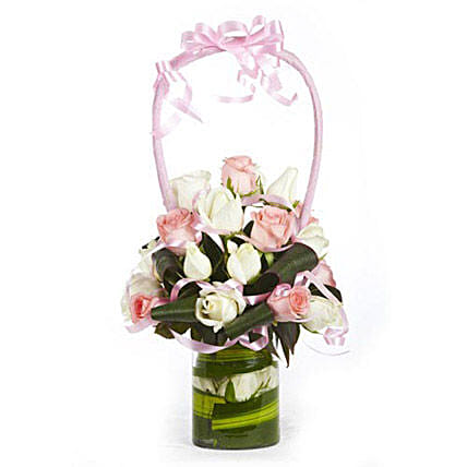 Blooming Masterpiece - Glass vase arrangement of 10 white roses with 6 pink roses.