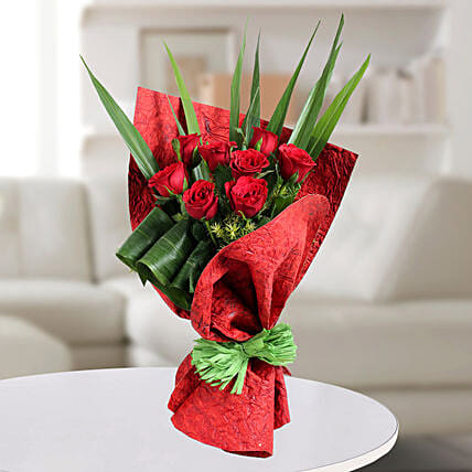 Red Roses Bouquets with Leaves