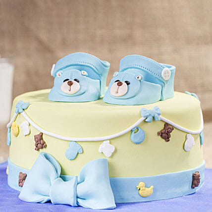 OnlineBlue Baby Shoes Truffle Cake:New Born Baby Gifts