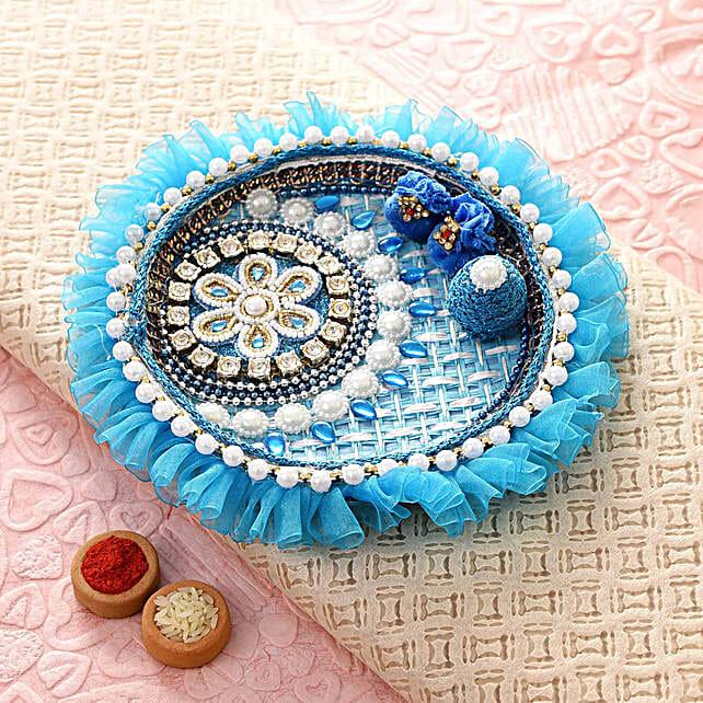 Blue Floral Bhaidooj Pooja Thali:Send Pooja Thali