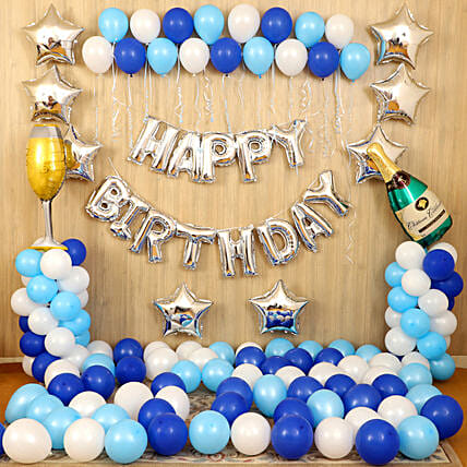 Blue Happy Birthday Décor:Balloon Decoration Ideas