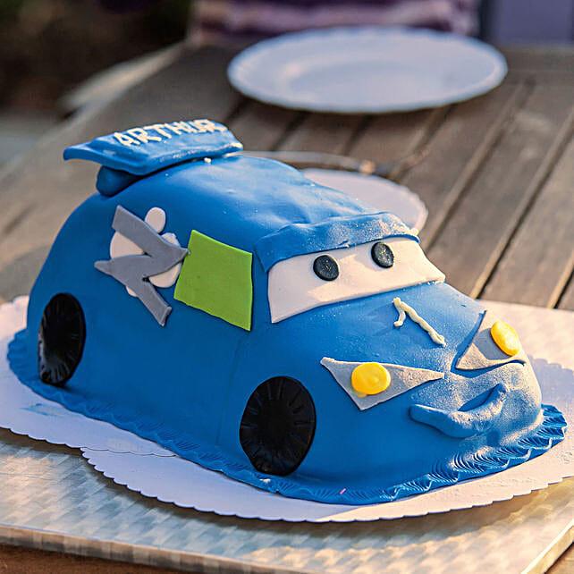 OnlineBlue Lightning Mcqueen Truffle Cake:Buy Car Shape Cake