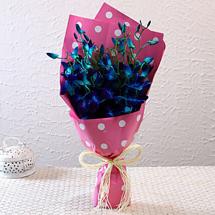 Blue Orchids In Polka Dots Wrapping