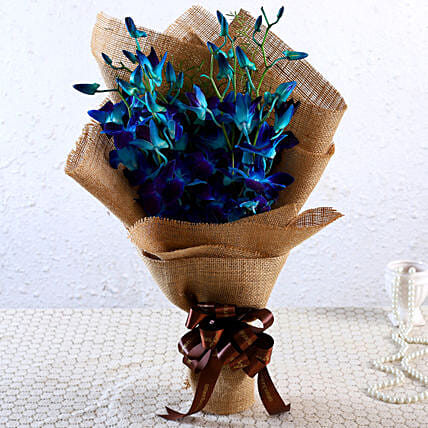Blue Orchids Ribbon Tied Bunch:New Arrival Gifts